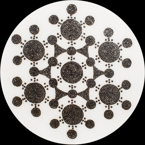 "Circle 5. Honeybees (Apis mellifera), resin on panel, 2014. (48"" x 48"" diameter)"