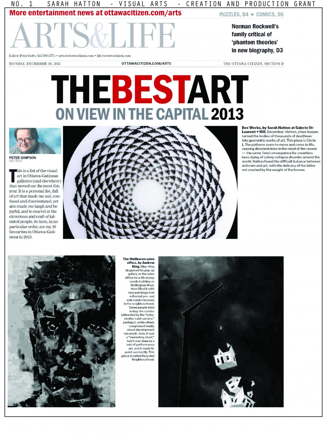 "13/12/29 ""The best art on view in the capital in 2013"". Peter Simpson. The Ottawa Citizen Arts. D2-D3"