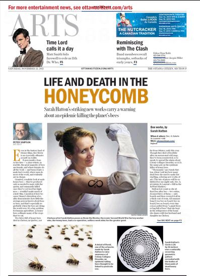"""13/11/22 """"Plight of the Honeybee: Sarah Hatton's striking new works carry a warning about an epidemic"""