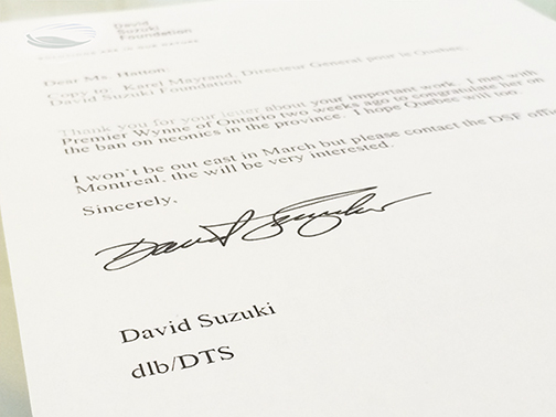 Letter of support for Bee Works from David Suzuki